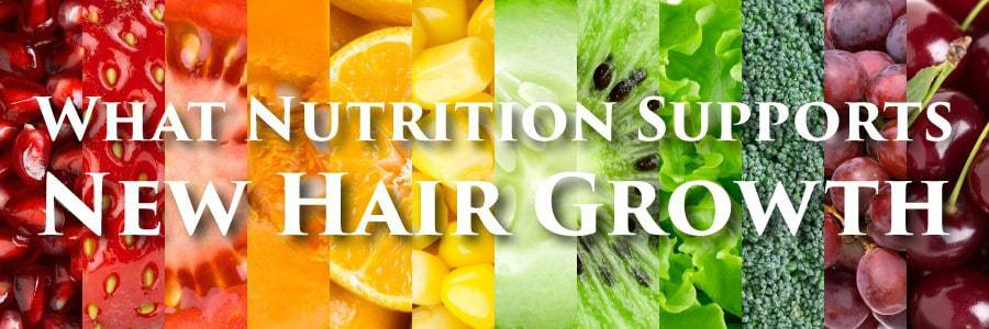 COLLAGE OF FRUITS.With a text*WHAT NUTRITION SUPPORTS NEW HAIR GRIOWTH*