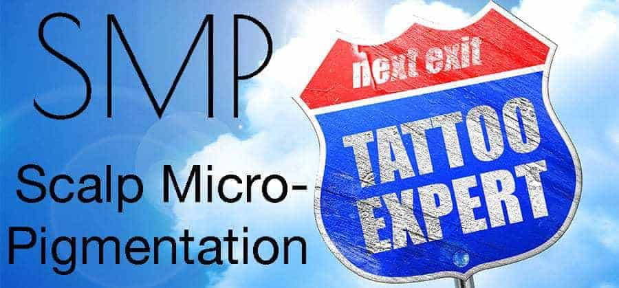 NEXT EXIT TATTOO EXPERT. With a text*SMP SCALP MICROPIGMENTATION*