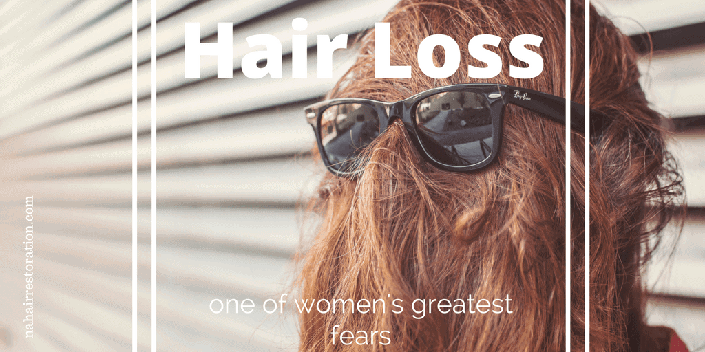 Back hair of a woman with shades. With text*HAIRLOSS ONE OF WOMENS GREATEST FEARS*