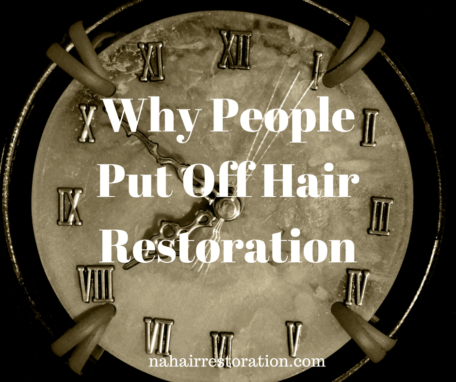 A vintage wall clock. With text *WHY PEOPLE PUT OFF HAIR RESTORATION*