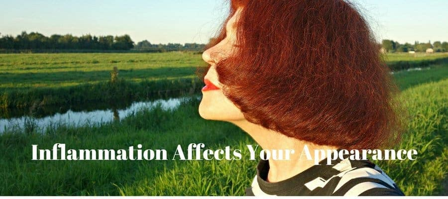 "A women's face with red hair and a background of grass with the text, ""Inflammation Affects Your Appearance"""