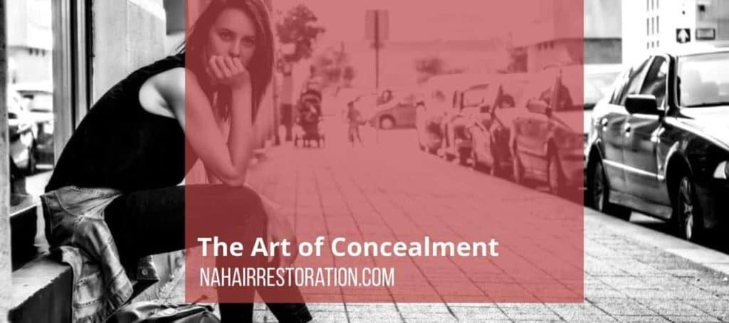 "a picture of a lady in black sitting besides the busy street with cars parked with a text, ""The art of Concealment"""