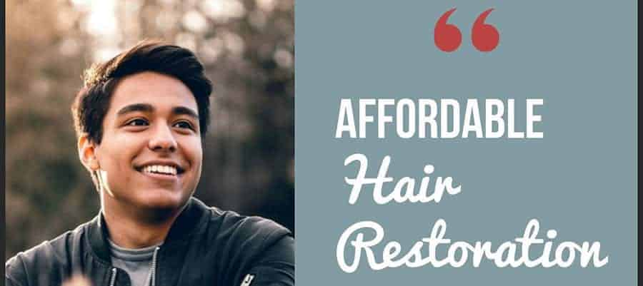 "a guy wearing a black jacket and his hugs smile on his face with the text, ""AFFORDABLE HAIR RESTORATION"""