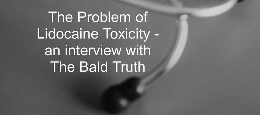 "a blurry stethoscope with a text, ""The problem of Lidocaine Toxicity - an interview with the bald truth"""