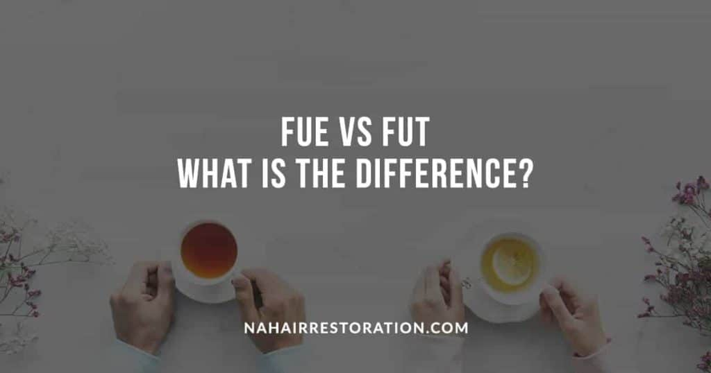 "top view two sets of hands holding a cup of tea, on the left is a dark tea and on the right a light tea with lemon with the text, ""FUE VS FUT WHAT IS THE DIFFERENCE?"""