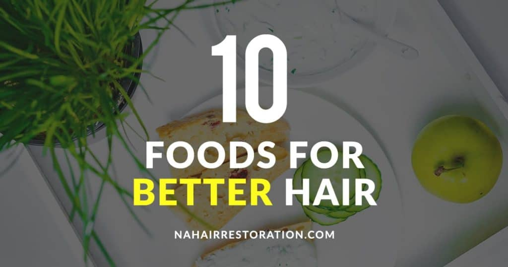 "a toasted bread with spread and a green apple and cucumber on the side with the text, ""10 FOODS FOR BETTER HAIR"""