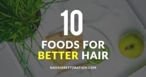"""a toasted bread with spread and a green apple and cucumber on the side with the text, """"10 FOODS FOR BETTER HAIR"""""""