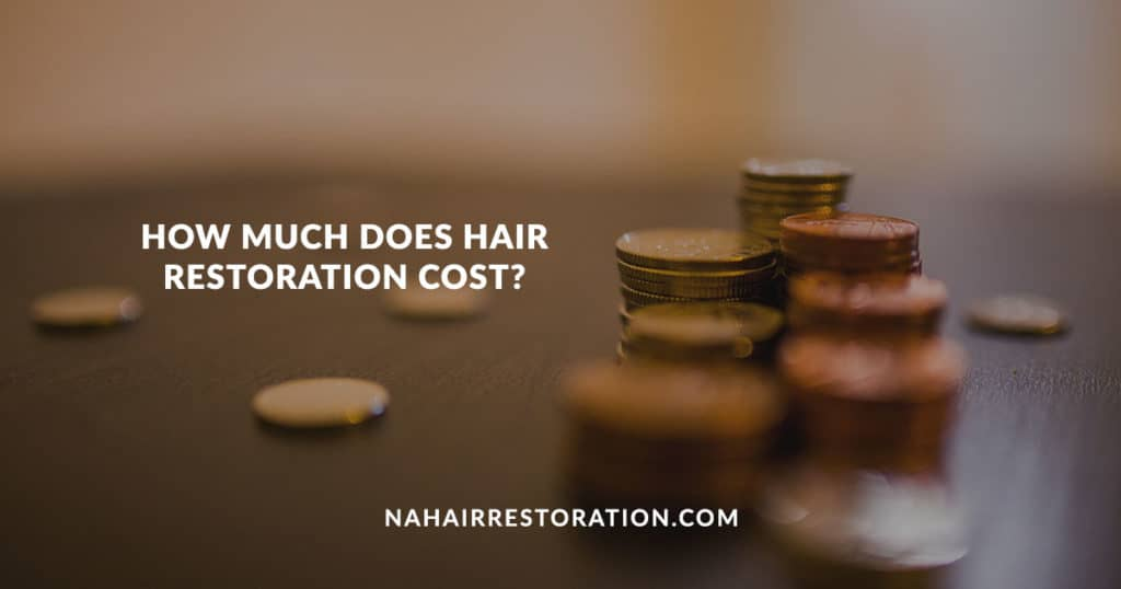 "a couple of coins laying on the top of each other with the text, ""HOW MUCH DOES HAIR RESTORATION COST?"""
