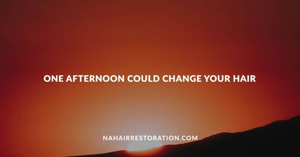 "a red-orange-ish sunset with the text, ""ONE AFTERNOON COULD CHANGE YOUR HAIR"""