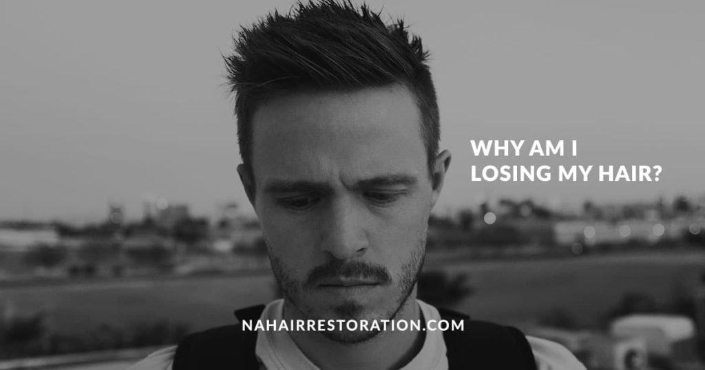 "a man thinking something in a blurry background with the text, ""WHY AM I LOSING MY HAIR?"""
