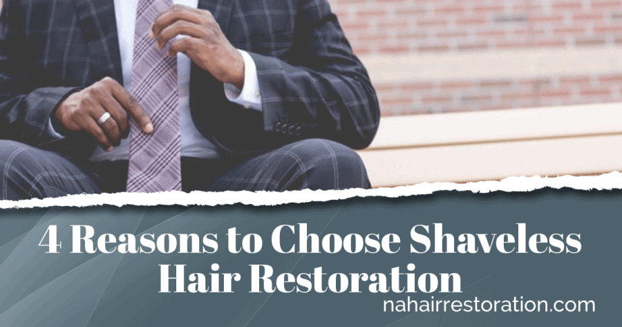 "man in a suite holding his tie with a text, ""4 Reasons to choose Shaveless hair restoration"""
