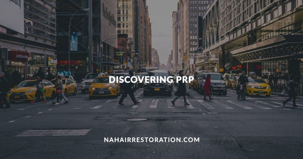 "Some people crossing in a busy highway with the text, ""DISCOVERING PRP"""