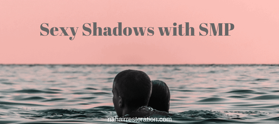 "couple swimming with a pink sky with the text, ""sexy shadow with SMP"""